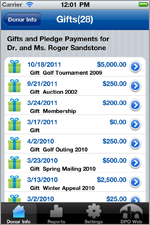 iPhone Fundraising App - Donation Summary View