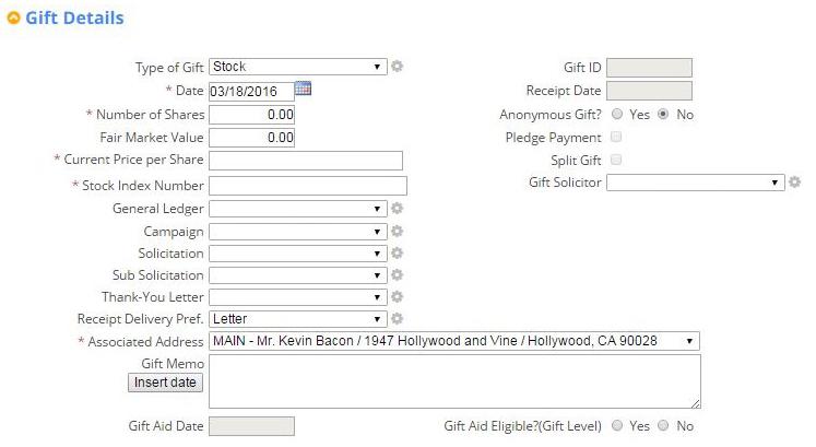 Stock Gift: Donation Database Reporting Screenshot