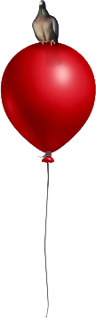 bird on red balloon