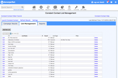 Screenshot of DonorPerfect's integration with Constant Contact