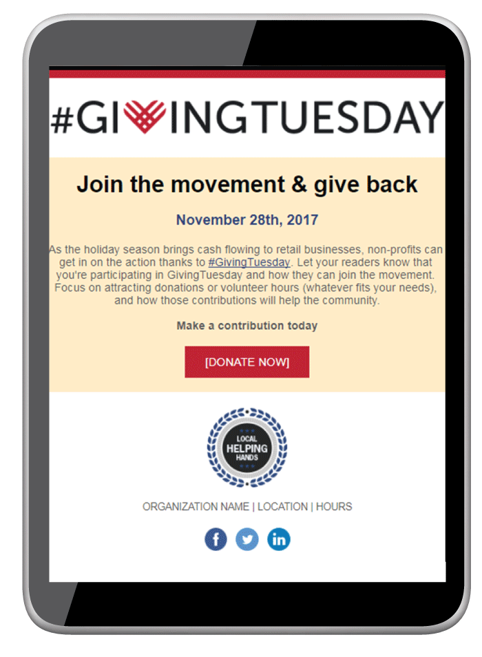 Example Giving Tuesday Email Screenshot