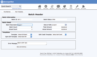 Advanced Batch Entry (header) with DonorPerfect Donor Management Software