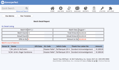 Advanced Batch Entry (detail report) with DonorPerfect Donor Management Software