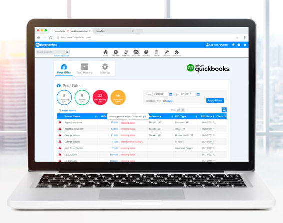 QuickBooks integrated with DonorPerfect screenshot