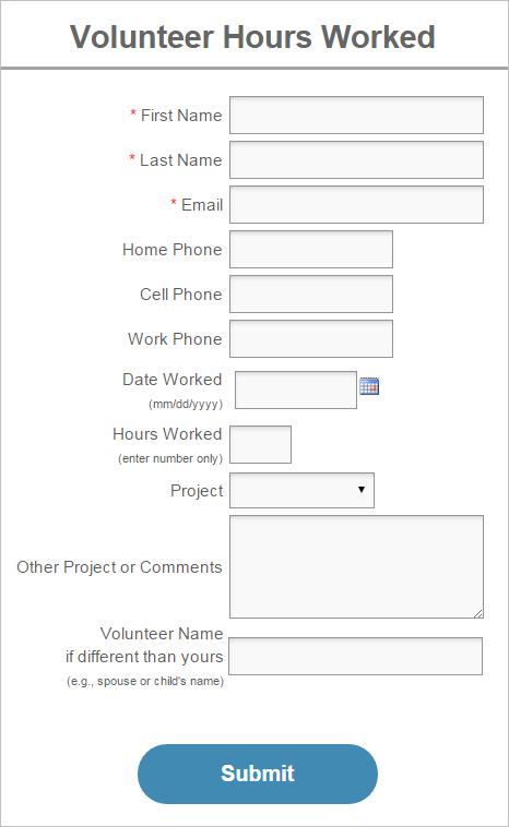 new form template volunteer hours log