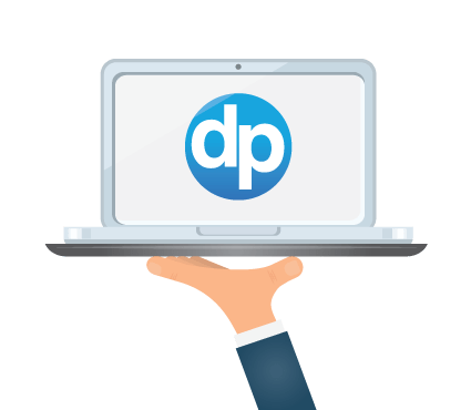 laptop with DonorPerfect logo