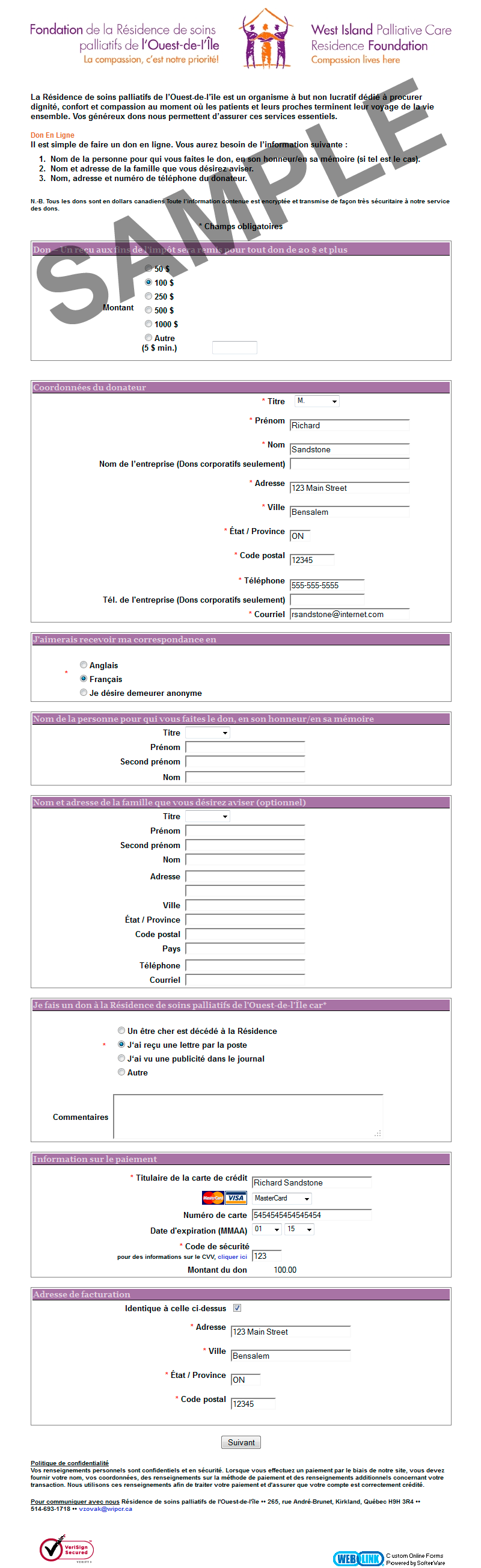 Example Online Donor Form: West Island Palliative  Donation Form Example