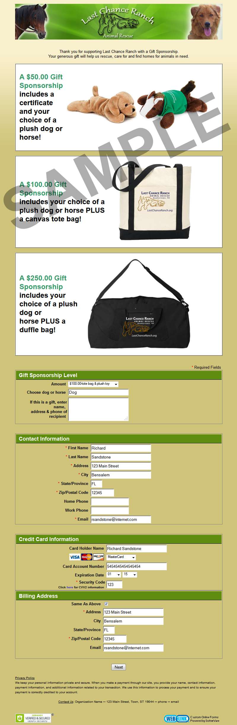 online donation page samples other examples of weblink