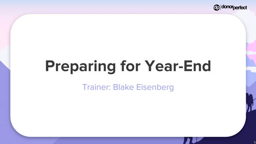 Preparing for Year End Webinar