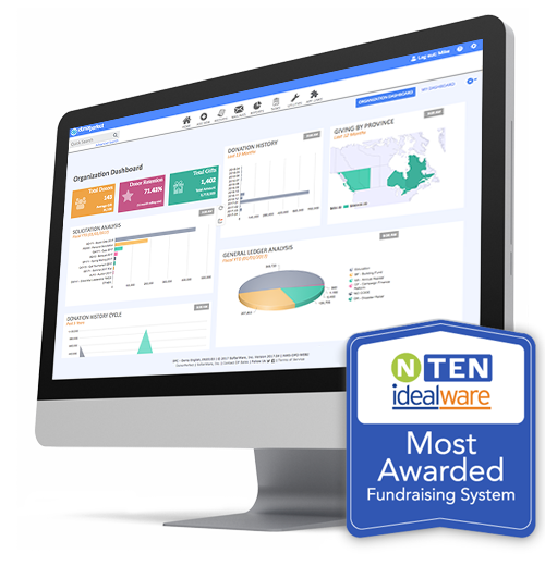 NTEN IdealWare Most Awarded Fundraising Software Badge on DonorPerfect Desktop