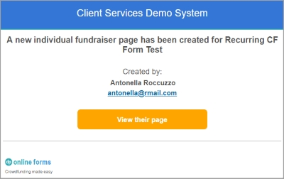 Email notifications help you stay in the loop when individual fundraisers create a new page.