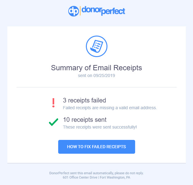 email receipt summary