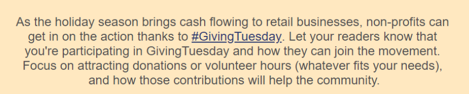 GivingTuesday paragraph from email