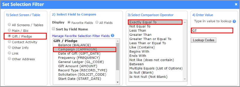 Setting Selection Filter parameters in the Statistical Tabulation report