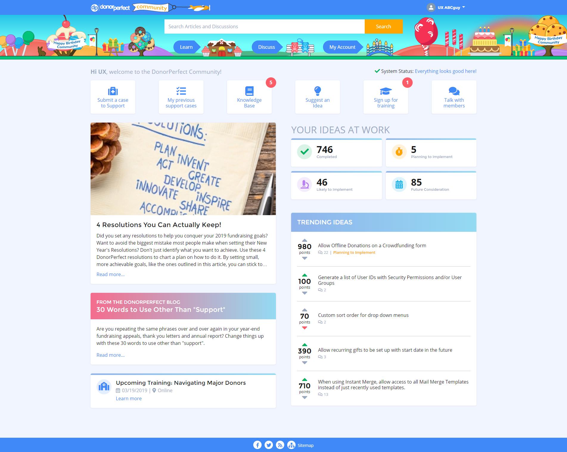 DP Community's landing page