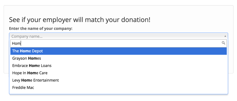 Double the Donation ScreenShot of Matching Gift