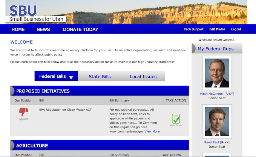 Votility Political Advocacy Website Screenshot