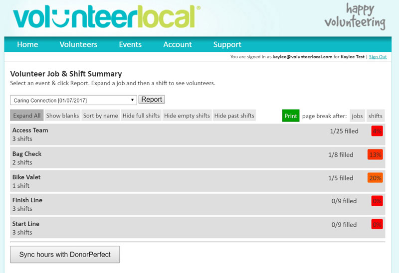 VolunteerLocal Volunteer and Shift Report Screenshot