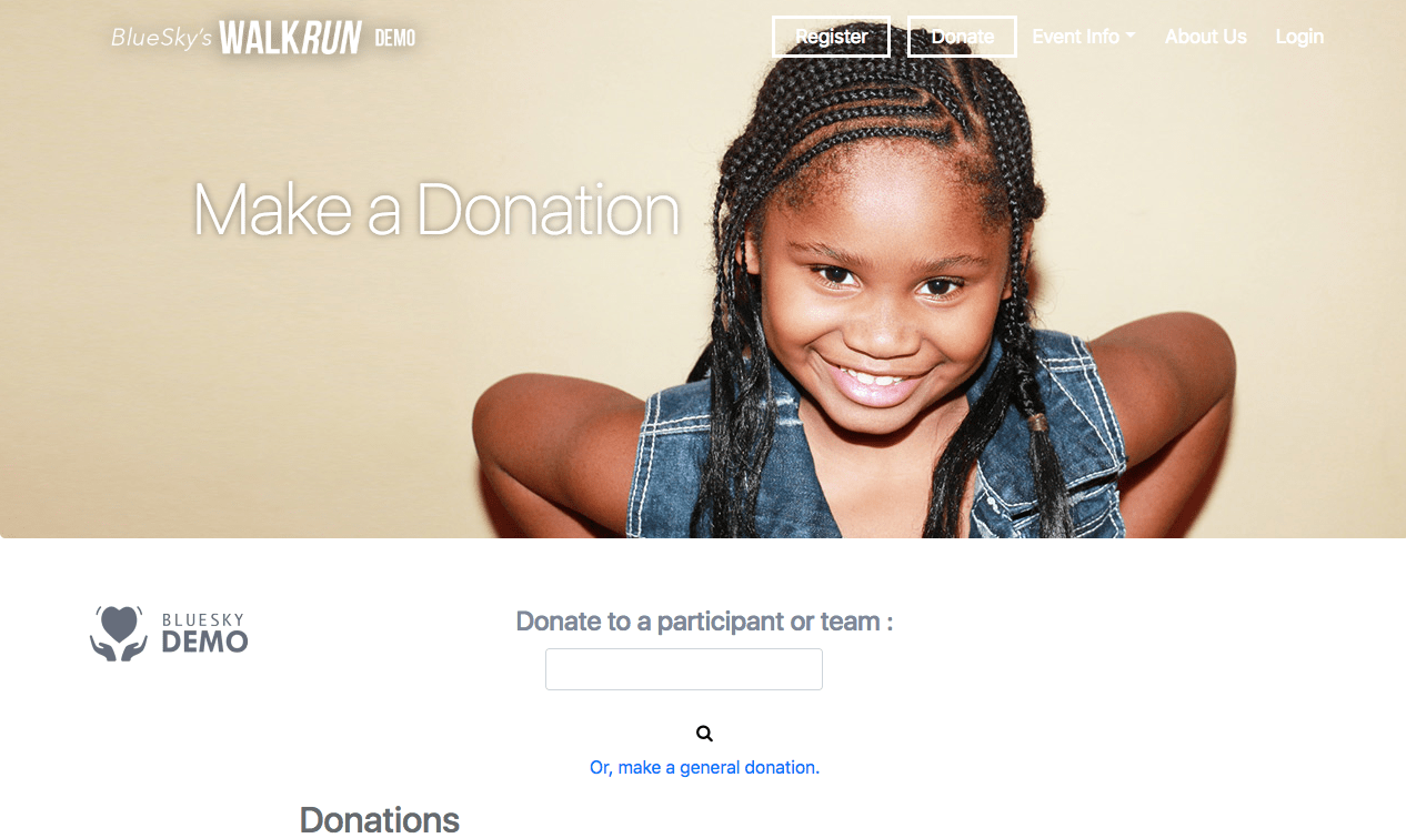 BlueSky Nonprofit Donation Form Screenshot
