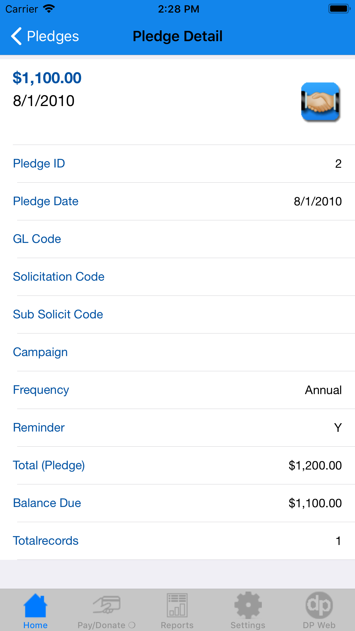 DP Mobile Fundraising App Pledge History Details Screenshot
