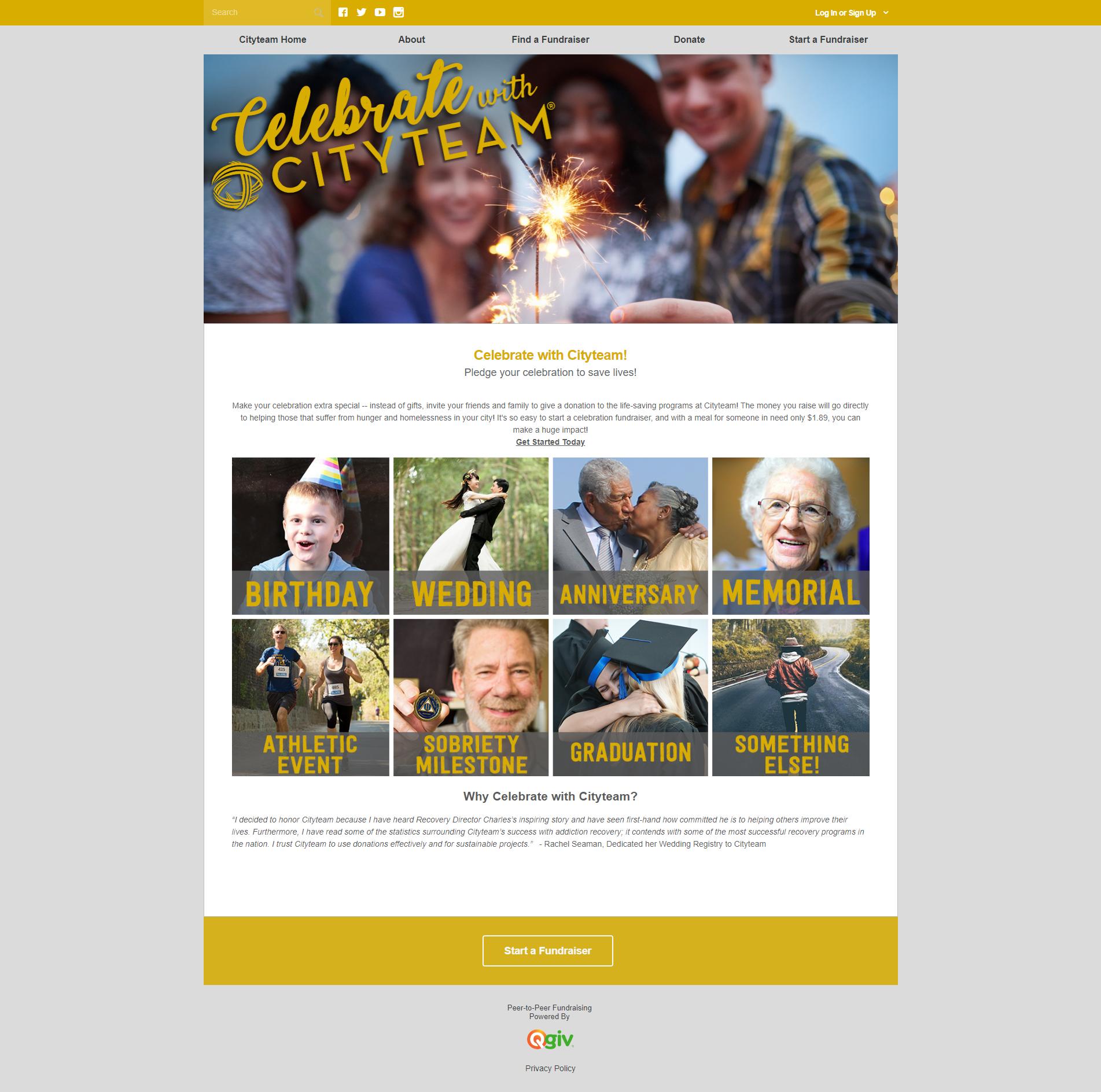 QGiv Peer-to-Peer Fundraising Page Creation Screenshot
