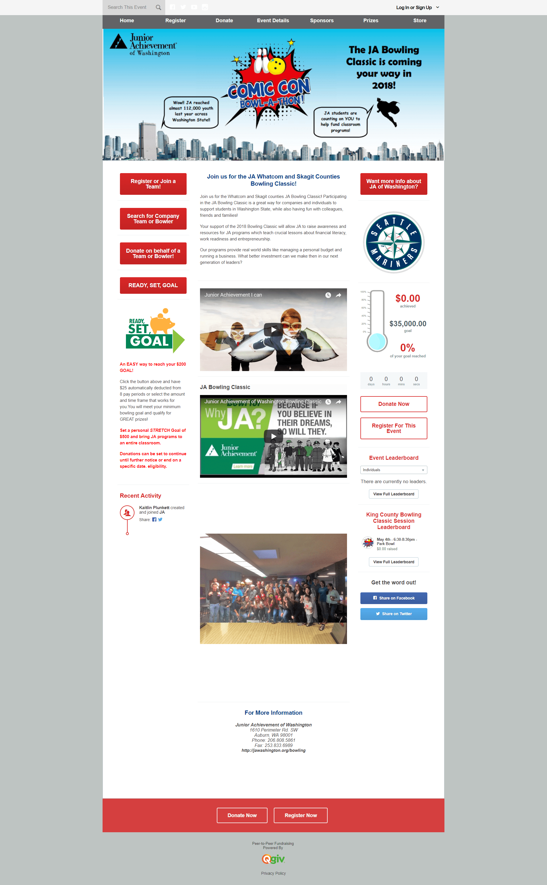 QGiv Charity Bowling Fundraising Page Screenshot