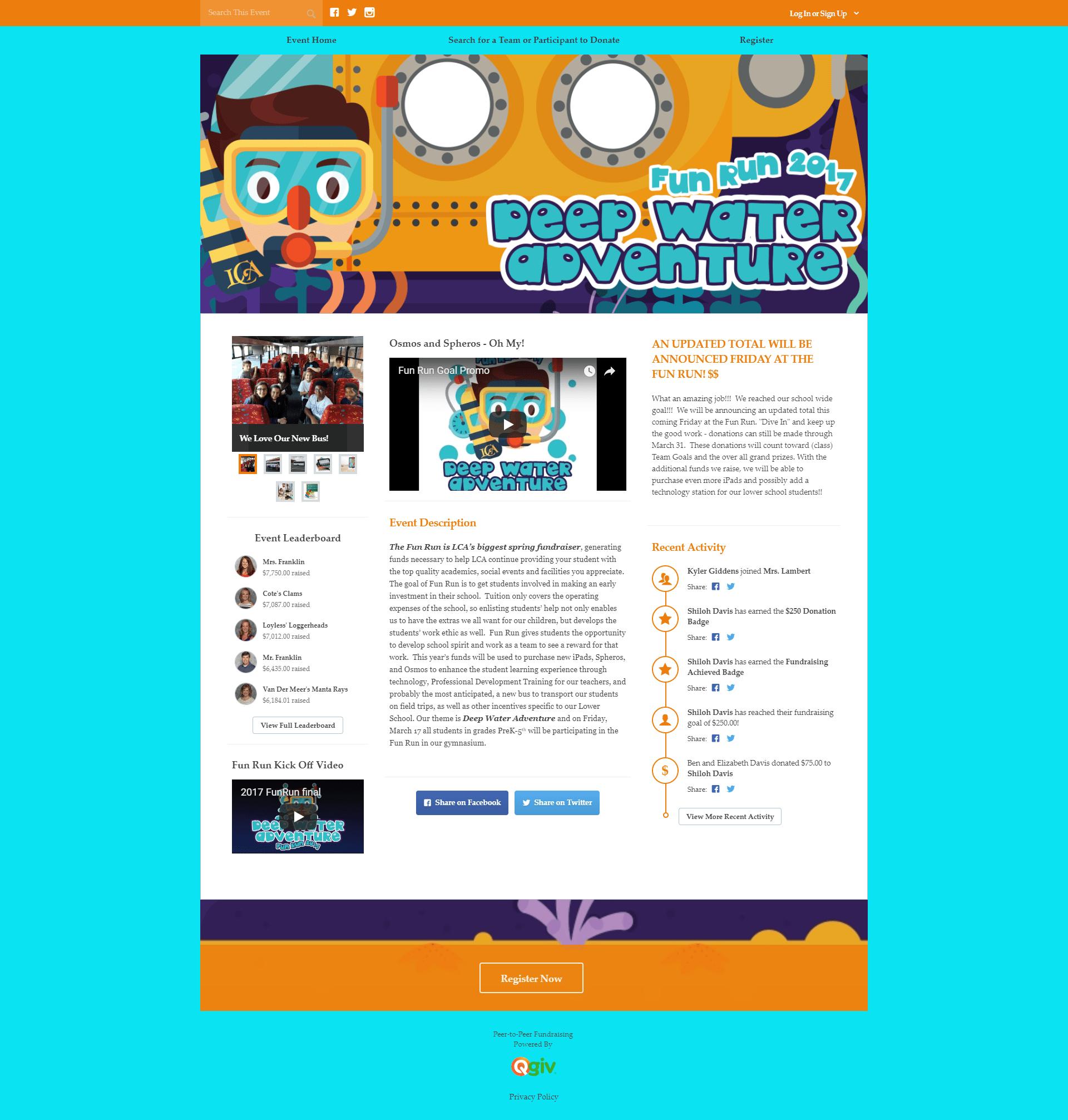 QGiv Fundraising Run Event Page Screenshot