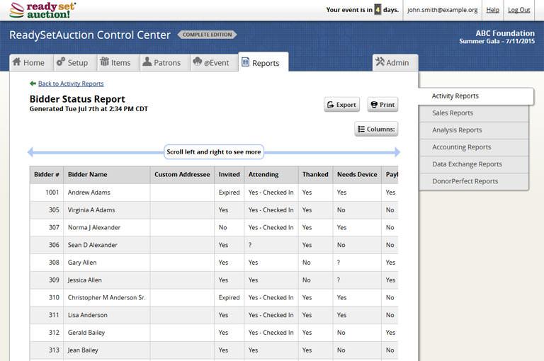 ReadySetAuction Charity Auction Bid List Screen Shot