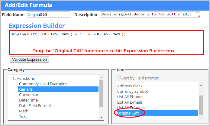Use an Export Template Formula to include original donor information.