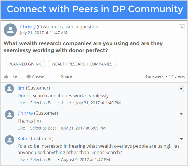 Connect with peers in the Nonprofit and DonorPerfect Community.