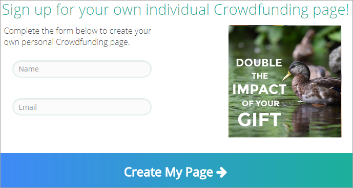 A sample signup for for an individual donor fundraiser.