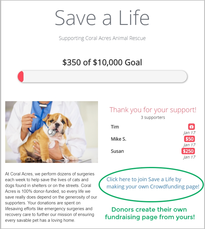 DonorPerfect's crowdfunding platform offers donors an easy way to support your organization with individual fundraising pages they can create, personalize and share with family and friends.