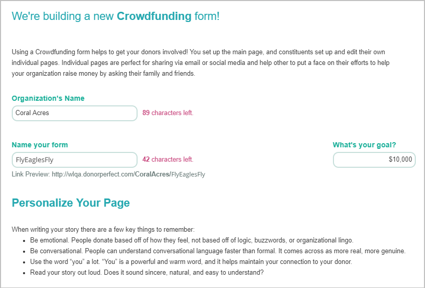 Setting up a Crowdfunding form in DonorPerfect is quick and easy.