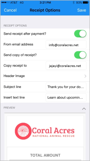 DPMobile's fundraising app lets you customize email donation receipts.