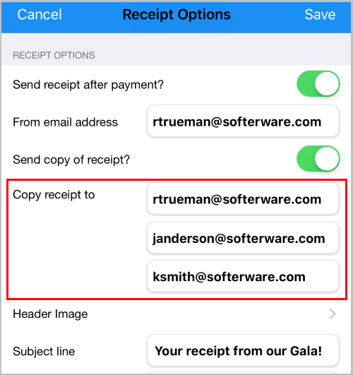 Receive a duplicate copy, for up to 3 email addresses, of the Donor's receipt for the payments you process via our mobile fundraising app, DPMobile.