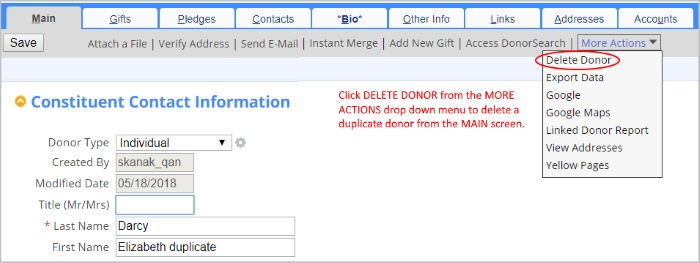 Delete the record right from the main screen with this improved DonorPerfect workflow.