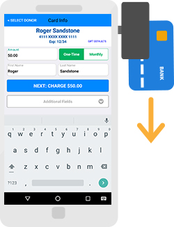 DonorPerfect Mobile Swipe Illustration